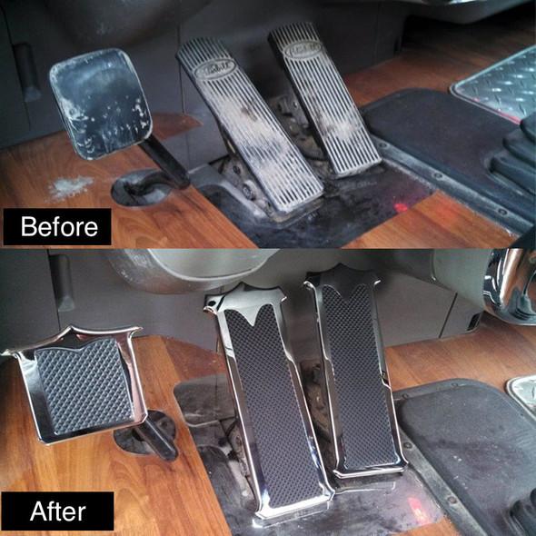 Peterbilt Chrome Plated Billet Aluminum Foot Pedal Set Before & After