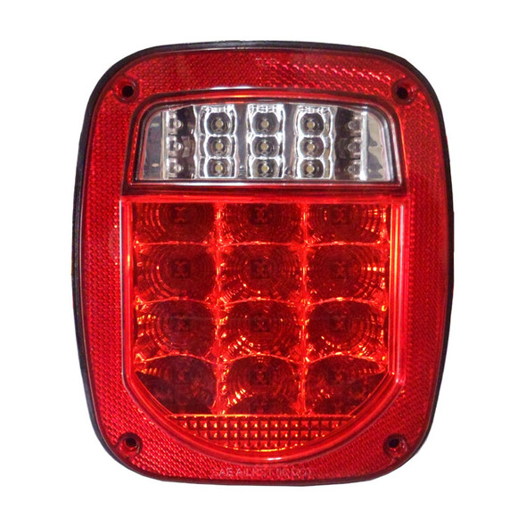 Universal Combination Square LED Tail Light - Red Lens