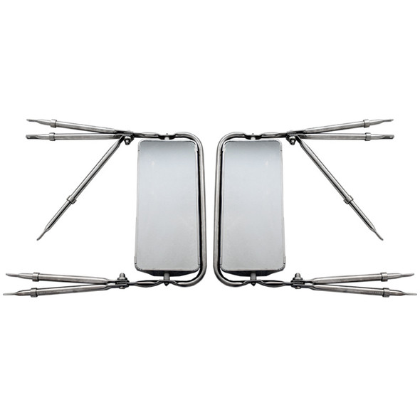 """West Coast 7"""" x 16"""" Stainless Steel Mirror Assembly Front View"""