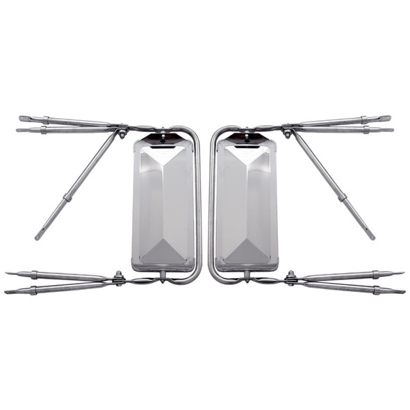 """West Coast 7"""" x 16"""" Stainless Steel Mirror Assembly Back View"""
