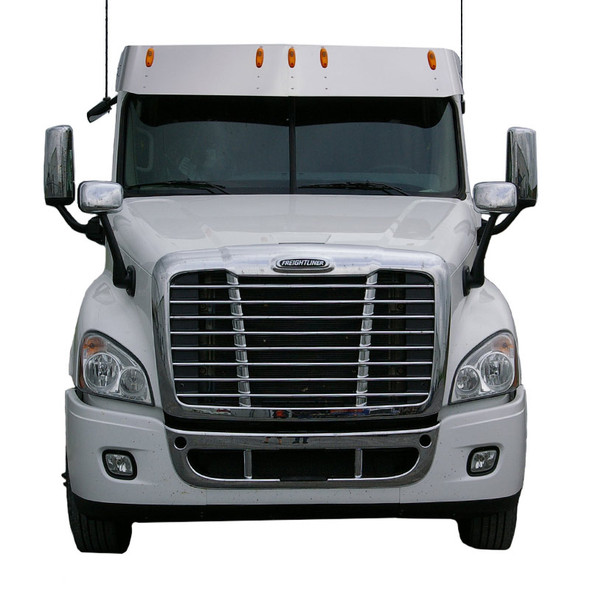 """14"""" Freightliner Cascadia Day Cab Drop Visor On Truck Front View"""