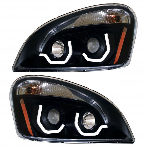 Freightliner Cascadia Blackout Projection Headlight With LED Position Light Bar On