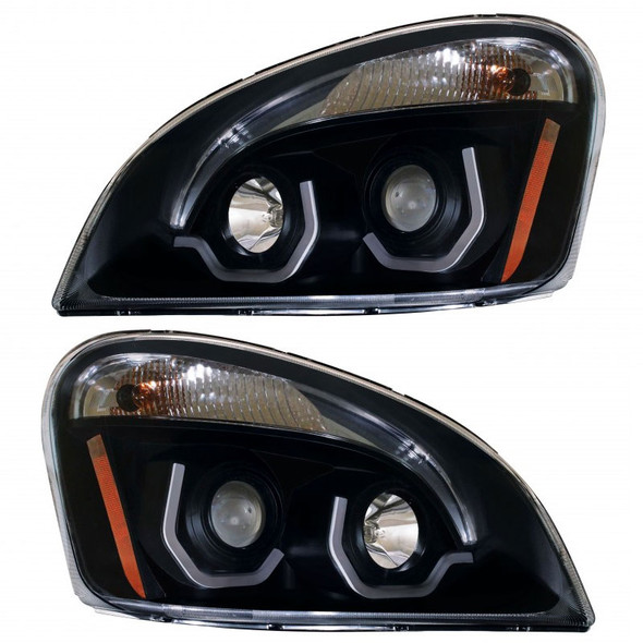 Freightliner Cascadia Blackout Projection Headlight With LED Position Light Bar Off