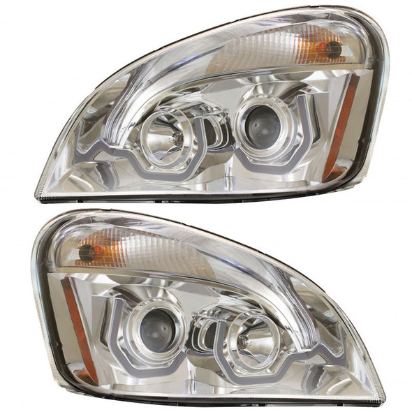 Freightliner Cascadia Chrome Projection Headlight With LED Position Light Bar Off
