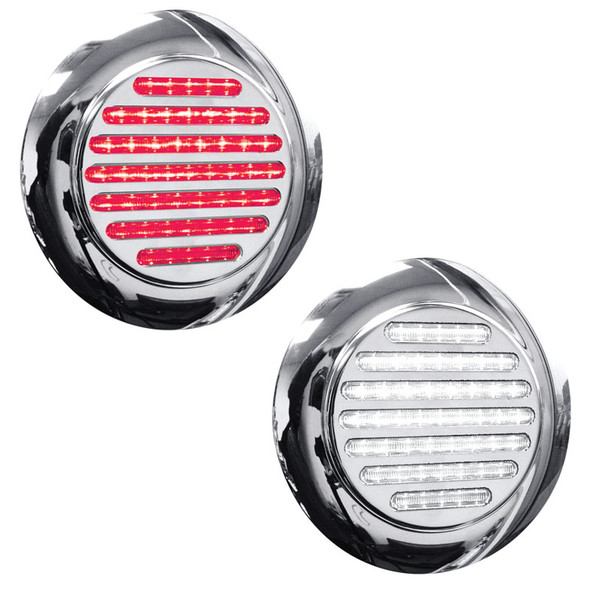 """4"""" Round Dual Function Flatline Flange Mount Red And White LED Light"""