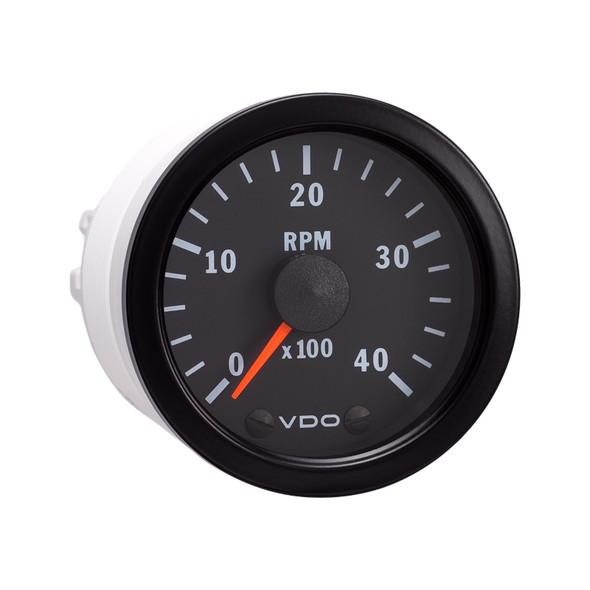 "Semi Truck 2 1/16"" Electrical Programmable Tachometer Gauge Vision Black 4000 RPM"