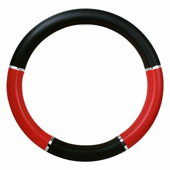 """18"""" Red And Black Steering Wheel Cover With Chrome Trim"""