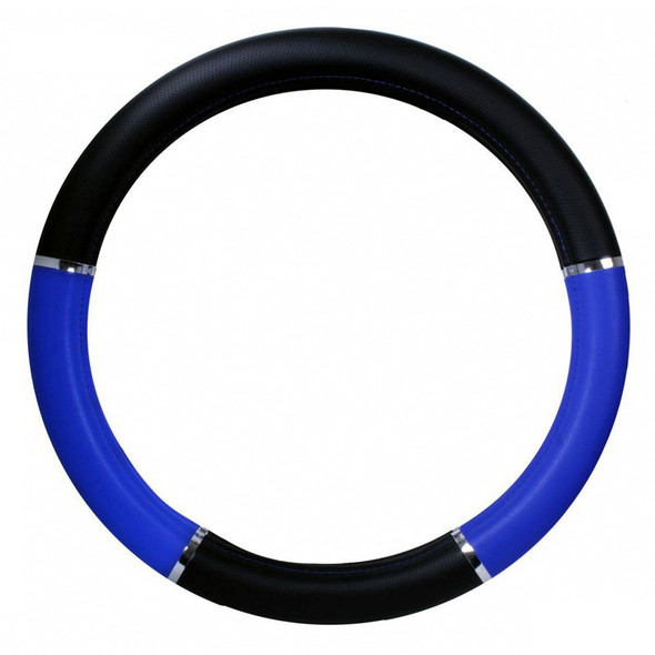 """18"""" Blue And Black Steering Wheel Cover With Chrome Trim"""