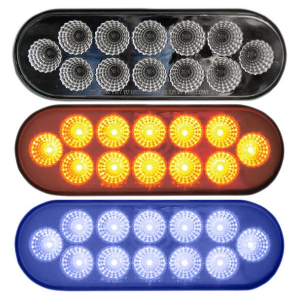 Oval Dual Revolution Amber & Blue LED Marker Light