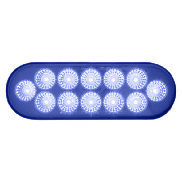 Oval Dual Revolution Amber & Blue LED Marker Light Blue Lit