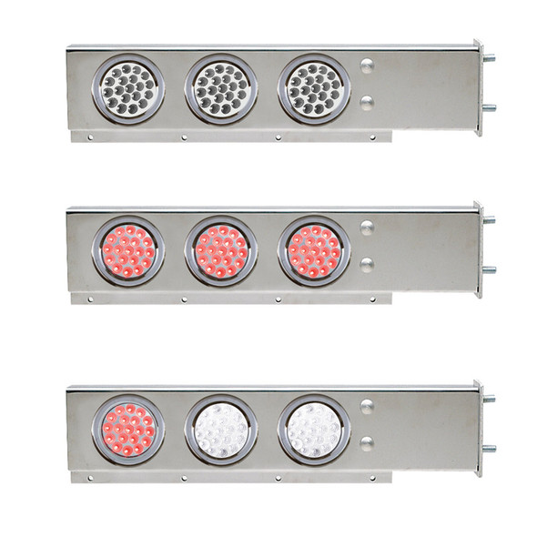 """Mud Flap Hangers With Dual Revolution LED Lights 3 3/4"""" Bolt Spacing"""