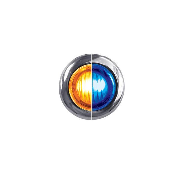 Mini Button Dual Revolution LED Amber And Blue Marker Light