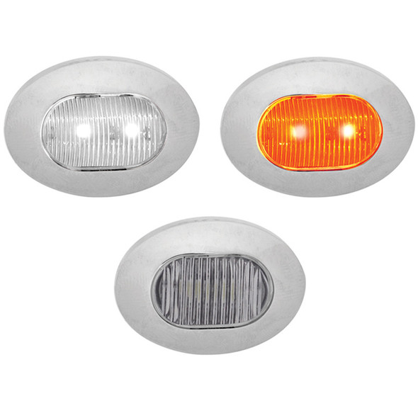 Mini Oval Button Dual Revolution Amber And White LED Marker Light