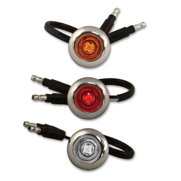 """3/4"""" Button Chrome Bezeled LED Lights With Amber, Red, And Clear Lens."""