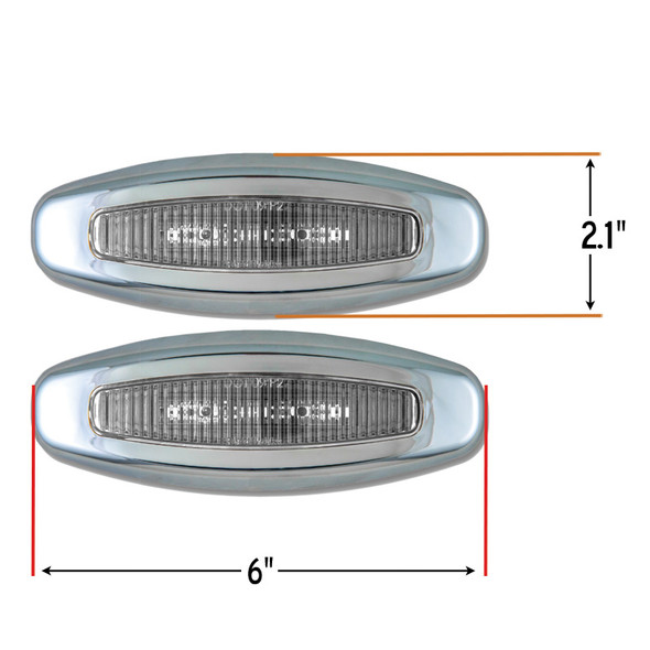 Crew LED Chrome Bezeled Lights With Clear Lenses And Dimensions Shown.