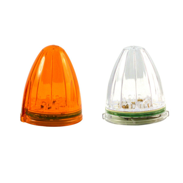 Two Torpedo 19 Amber LED Cab Lights with Amber and Clear Lenses