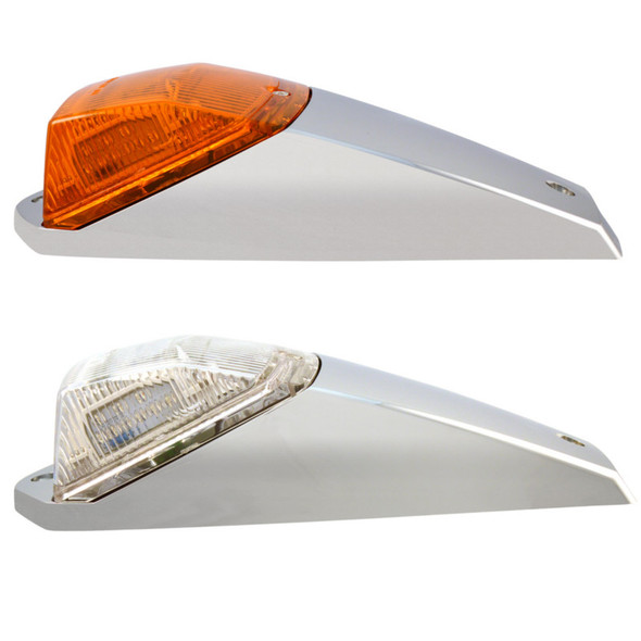 Two Square Cab 42 Diode Amber LED Lights in Housing with Amber and Clear Lenses