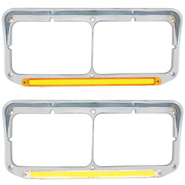 Rectangular Dual Headlight Bezel With Visor & GLO LED Lights