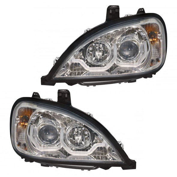 Driver And Passenger Freightliner Columbia Projection LED Headlights 1996 & Newer Unit