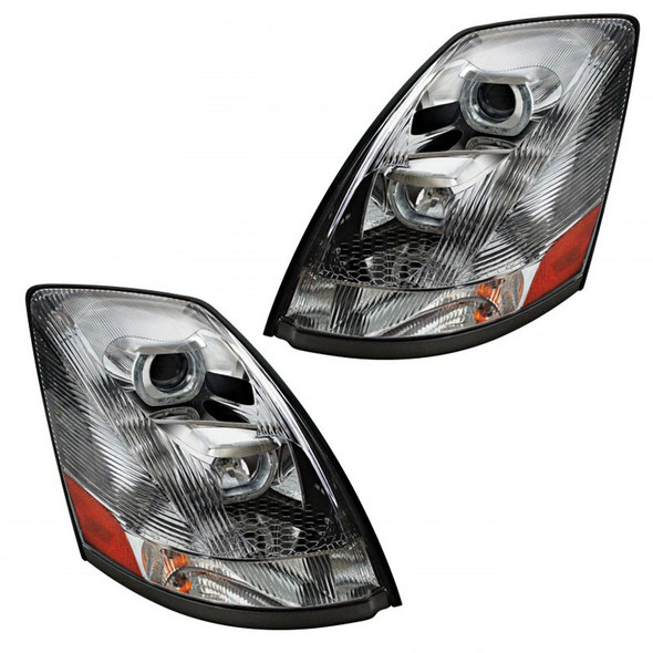 Unlit Volvo VNL Chrome Projection Headlights With LED Position Bar 2004 & Newer Driver Side Angle Passenger And Driver