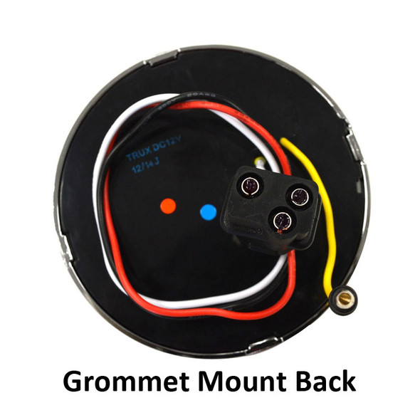 """4"""" Round Flatline STT Red LED Light Grommet Mount Back"""