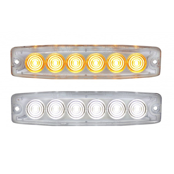 6 High Power LED Super Thin Warning Light Amber And White With Clear Lens