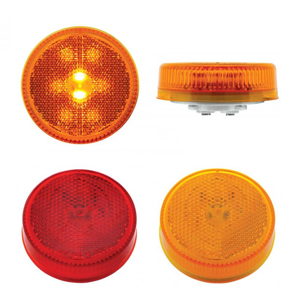 """2 1/2"""" Round Clearance Marker 8 Red And Amber LED Light With Reflectorized Red And Amber Lens"""