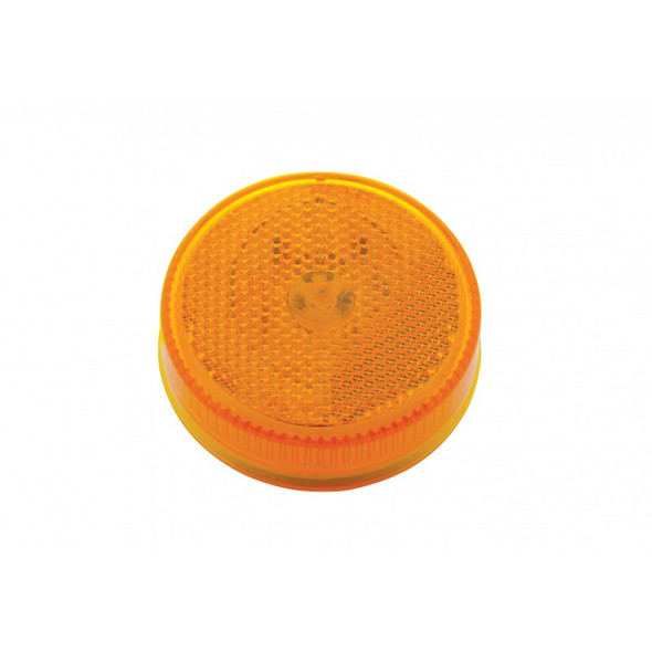 """2 1/2"""" Round Clearance Marker 8 Amber LED Light With Reflectorized Amber Lens"""