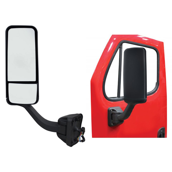 Freightliner Cascadia Black Mirror Assembly With Electric Operation & Heat Driver Side On Door