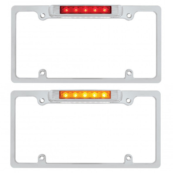 Lit Chrome Deluxe LED License Plate Frame Red And Amber Light And Lens