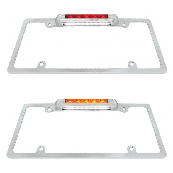 Lit Chrome Deluxe LED License Plate Frame Red And Amber Light And Lens Angle View