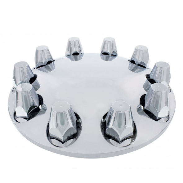 33mm Thread On Moon Style Front Axle Chrome Cover Kit Angle View