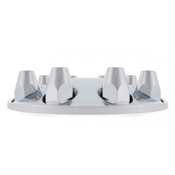 33mm Thread On Moon Style Front Axle Chrome Cover Set Side View