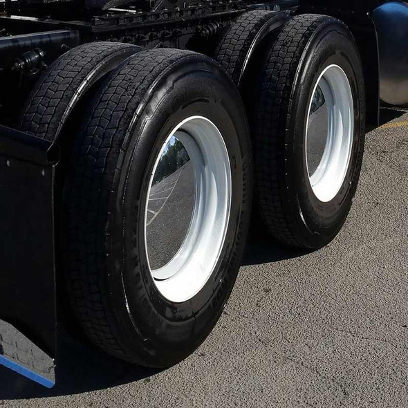 Moon Style Rear Axle Chrome Cover Kit - On Wheel Angled View