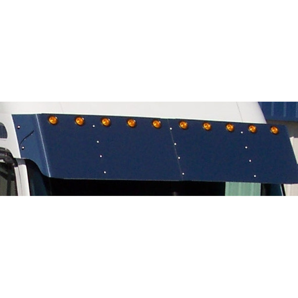 """Freightliner Columbia & Century 18"""" Drop Visor With 2"""" Light Holes mounted close up"""
