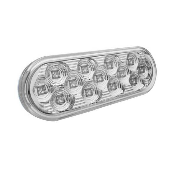 """4"""" Oval Mirror White Back-Up LED Light Angle View"""