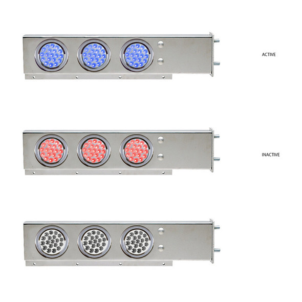 """Mud Flap Hangers With Blue/Red Dual Revolution LED Lights 3 3/4"""" Bolt Spacing"""