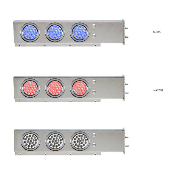 """Mud Flap Hangers With Blue/Red Dual Revolution LED Lights 2 1/2"""" Bolt Spacing"""