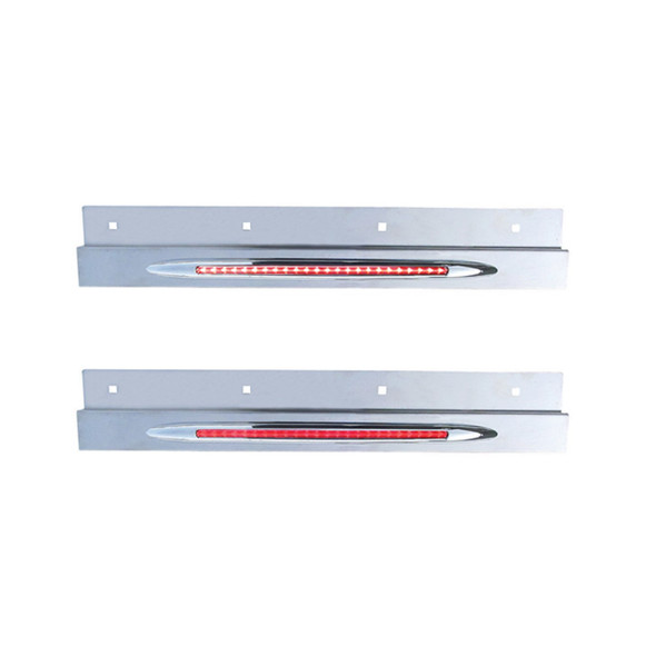 Stainless Steel Top Mud Flap Bracket Flatline Light Bar Clear and Red Lens