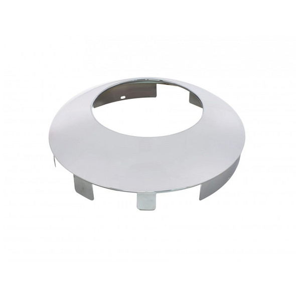 """Universal Chrome Front Hub Cap With Hubometer Hole & 1"""" Lip Angle View"""