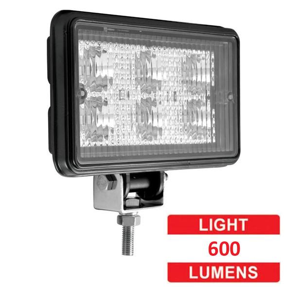 Rectangular 6 Diode LED Work Lamp With Spot Or Flood Beam - Lumens