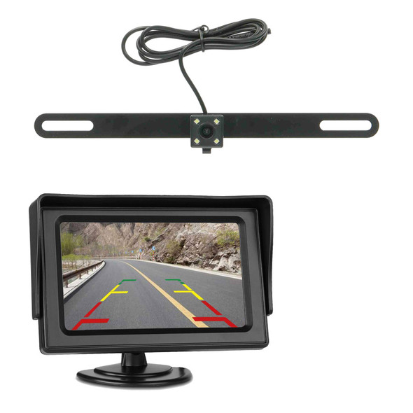 """Backup License Plate Bracket Camera With 4.3"""" LCD - Wireless"""