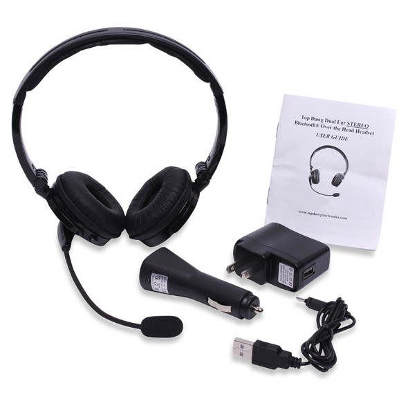 Dual Ear Stereo Noise Canceling 2nd Generation Bluetooth Headset With Charging Cords Plugs and Manual