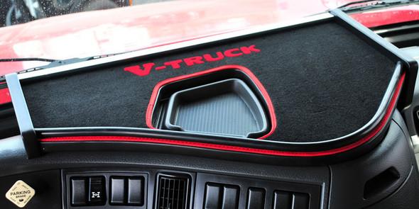 Volvo VNL V-Truck Custom Dashboard System Short Shelf With Black & Red Carpet & Small Opening