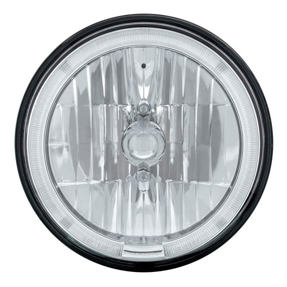 """7"""" Round Crystal Headlight With LED Halo Ring Front View"""