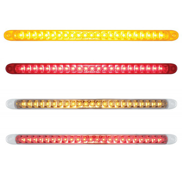 """17 1/4"""" 23 SMD LED STT & PTC Light Bar With Reflector Amber Red Clear"""