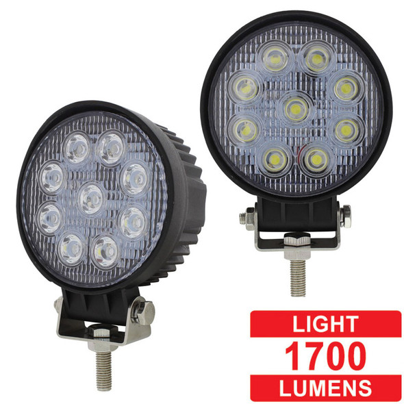 """4 1/2"""" High Power 9 LED Round Work Flood Light Competition Series - Lumens"""
