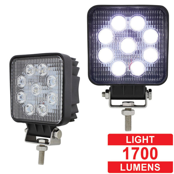 """4 1/2"""" High Power 9 LED Square Work Flood Light Competition Series"""