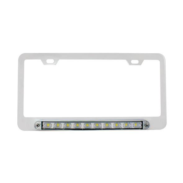 """Chrome Deluxe License Plate Frame With 10 White LED 9"""" Light Bar Unlit"""
