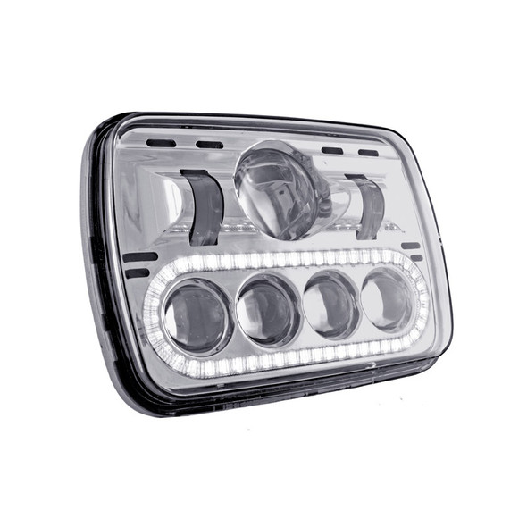 """5"""" x 7"""" Square LED Projector Headlight With Auxiliary LED Lit Strip"""
